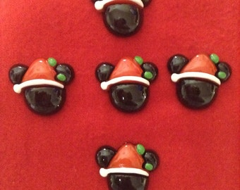 Set of 5 Mickey Mouse Santa Resin