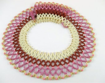 Pink Egyptian Inspired Beaded Collar Necklace