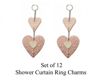 Decorative Shower Curtain Ring Charms... Dangling Hearts...Set of 12...Custom made to order.