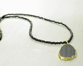 Black and Gold Geode Stone Beaded Necklace