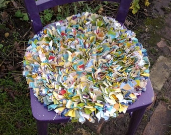 Chair Cushion, Rag Rug, Eco Friendly,upcycled, Proddy, Round Seat Cushion, Chair  Pad, Kitchen Chair Pad,