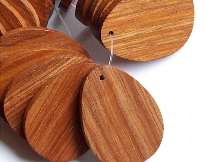 Wood Pendant, Flat Teardrop 30x40mm, Bayong - 2 Pieces (WDTDF-40BY)
