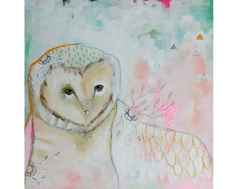 Original owl painting whimsical abstract mixed media art on wood panel 16x16 inches - Waiting for the magic