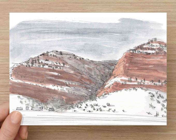 Ink and Watercolor Drawing of Red Rocks and Snow - Utah, Winter, Painting, Sketch, Art, Pen and Ink, 5x7, 8x10