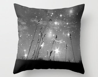 Throw Pillow, Only The Stars and Me, Black & White Pillow, Decorative, Cushion, Grass, Night Sky, Interior Design, Dorm, Office, Nature