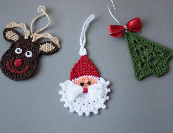 Items similar to Crochet Christmas ornaments Set of 3 ...