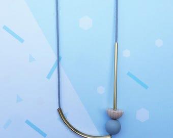 Brass Geometric Necklace - Geometric Jewellery - Brass Jewellery - Gift For Her - Statement Necklace - Geometric Necklace