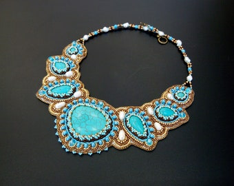 Chunky Bead Embroidered Statement Necklace for Women Blue Gold Beaded Choker Necklace Gift for Her Jewelry with Turquoise and Pearls