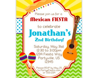 Fiesta Invitation - Green Chevron, Blue Polka Dots, Kids Sombrero and Maracus Personalized Birthday Party Invite - Digital Printable File