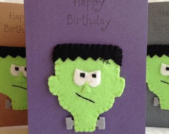 Birthday Card - Frankenstein - Frankenstein's Monster - Horror - Felt Motif