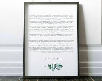 Desiderata Print, Poem Art, Max Ehrmann poem, Literary Poster, fine art print, literary quote, motivational poster, little tiger designs