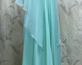 Lovely Vintage 1960's Seafoam Green Evening Gown With Chiffon Capelet