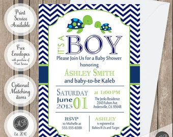 Sea Turtle Baby Shower Invitation Navy and Lime Green Chevron printable invitation st1