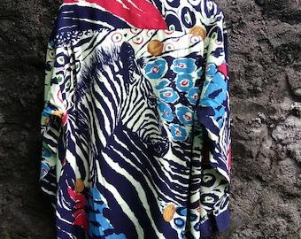Vintage 90s Silk Shirt ANGELO Zebra Printed. Mens Large