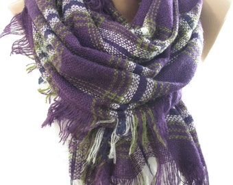 Blanket Scarf Plaid Scarf Oversize Scarf Purple Scarf Shawl Flannel Blanket Scarf  Winter  Fashion Accessory Gift For Women Gift For Her