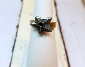 Pewter Star Ring With Gold Band, Pewter Ring, Star Jewelry, Celestial Ring, Stacking Ring, Stackable Ring, Gold Plated Pewter, Star Ring