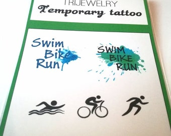 temporary tattoo / triathlon / swim bike run