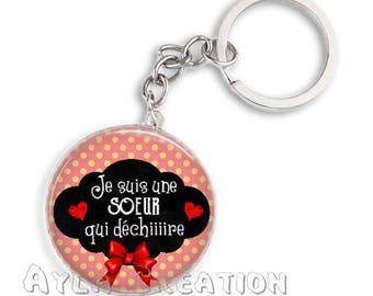 Cabochons glass 25mm S1_4 sister keychain