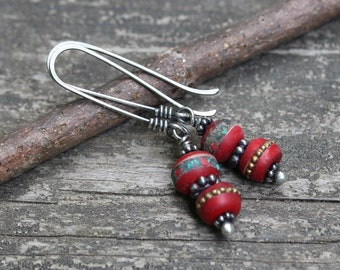Nepalese bohemian dangle earrings / sterling silver earrings / red bead earrings / gift for her / jewelry sale / long dangle earrings