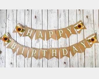 Sunflower Birthday Banner