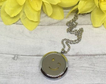 wink emoji necklace, emoji necklace, emoji jewelry, essential oil diffuser, necklace diffuser, aromatherapy charm, diffuser locket, oil gift