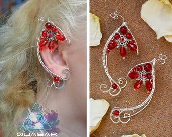 """Xmas Elven ears """"Winter berry""""   Christmas ear cuffs, ef jewelry, xmas jewelry, lotr, elf ears, fairy ear cuff, wire ear cuff, no piercing"""