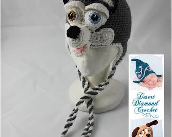 Crochet Pattern 060 - Siberian Husky Earflap Beanie Hat - All Sizes