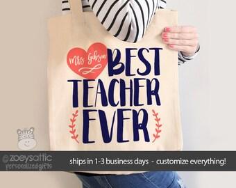 Teacher tote bag- best teacher ever tote school bag - great teacher appreciation or end of year gift  MSCL-023-b
