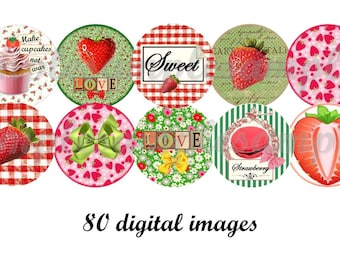 Digital Collage Sheet circles Strawberry 1 inch digital bottlecap digital images strawberry digital rounds strawberry