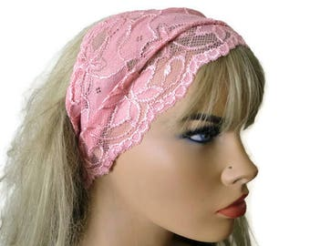 Salmon Pink Stretch Lace Headband, Bridesmaids Hair Wrap-Anytime fashion-Summer headbands-Summer fashion (009)