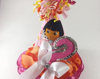 2nd Birthday Hat. Dora the Explorer.  Princess Birthday. Girls Birthday Hat. Smash Cake Session.