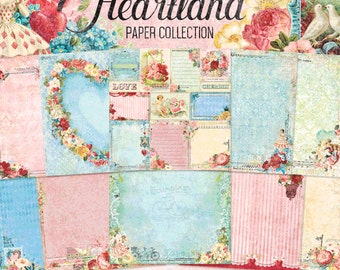 Blue Fern Heartland Collection  12 x 12 Scrapbook Paper Pad  Full Collection Pack, 2-Each Of 10 Designs, 20 Double Sided Papers Total
