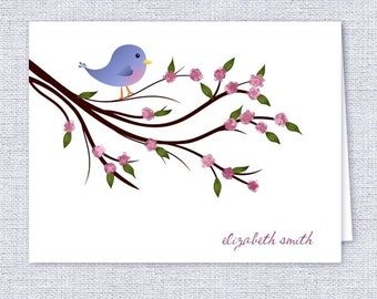 Cute Little Bird Note Cards - Set of 10 - Personalized Stationery - Gift Idea
