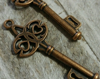 Bulk Skeleton Keys Steampunk Keys Key Pendants Antiqued Copper Key Charms Trinity Keys Wholesale Keys Wedding Keys 45mm 100pcs