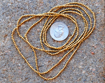Indian Brass Metal Beads: 2 Strands 2mm