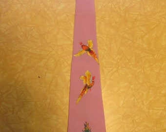 Gorgeous 1950s Hand Painted Pheasant Purple Rayon Crepe Rockabilly Tie