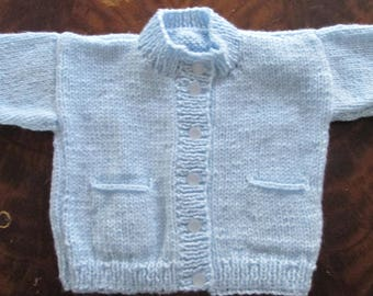 boys blue 5 button cardigan with pockets