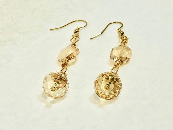 SJC10273 - unique Swarovski earrings, gold plated earrings, Swarovski gold earrings, unique handcrafted earrings, translucent