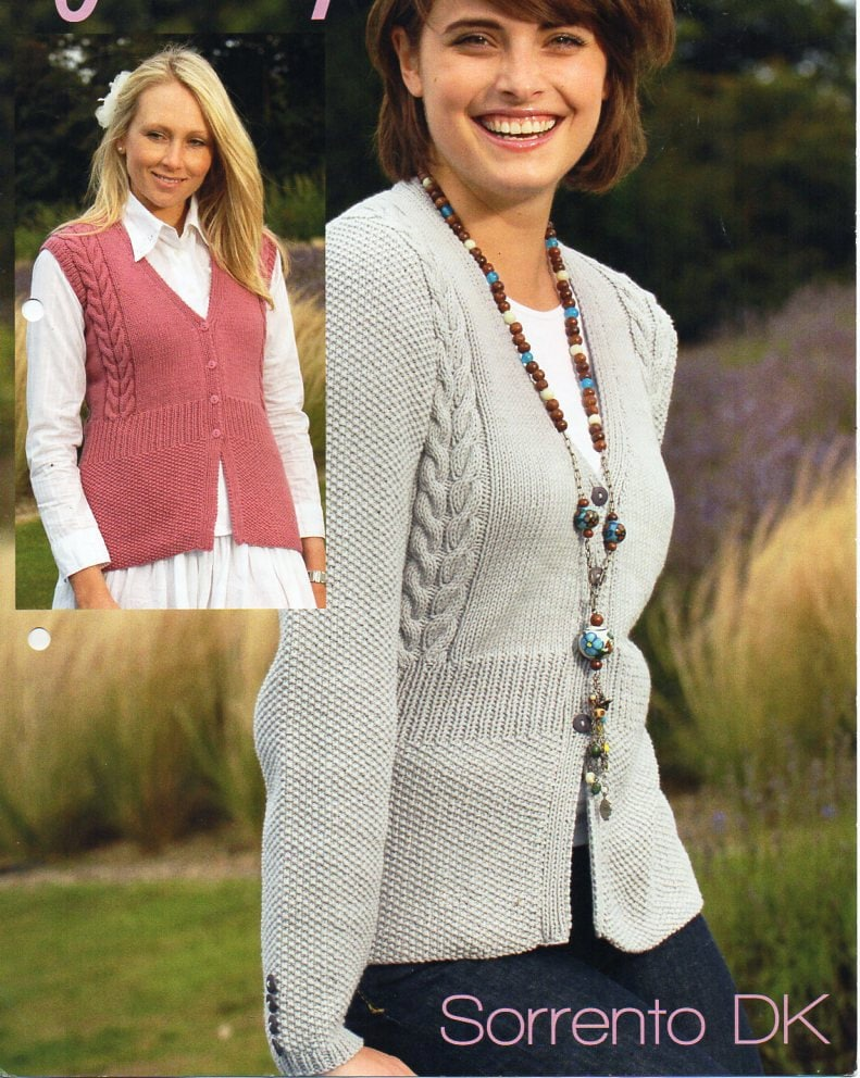 womens cardigan gilet knitting pattern PDF ladies cable jacket ...