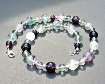 Rainbow Flourite Necklace, Beaded Necklace, Multi Colored Necklace, Stone Necklace