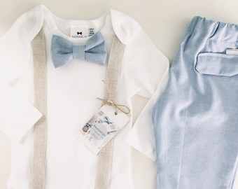 Baby boys baptism or wedding suit with Beige linen suspenders and blue bowtie and shorts/pants set sizes 0000-1