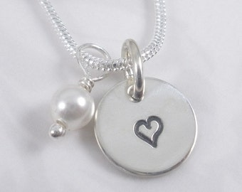 heart sterling silver charm necklace - hand stamped