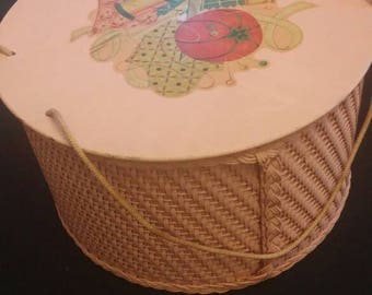 PINK Princess Wicker Sewing Basket