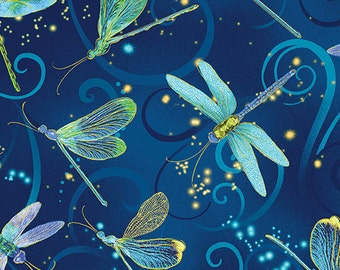 Dancing Dragonflies Midnight Blue Metallic Benartex Fabric