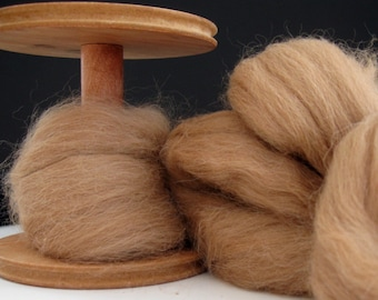 Ecru/Undyed/Natural Fawn Alpaca colored wool roving, spinning fiber - 4 ounces
