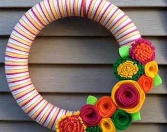 Summer Wreath - Spring Wreath - Pink, Orange, Yellow, and Green Yarn Wreath with Felt Flowers - great for Summer - Felt Flower Wreath