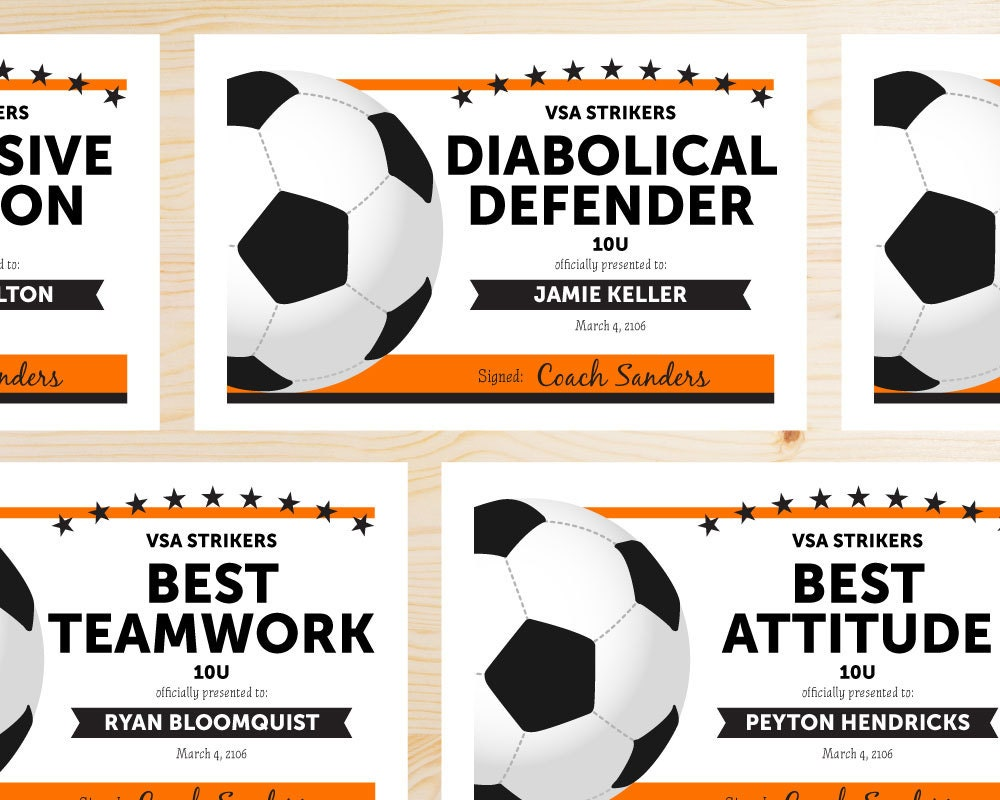 Editable soccer award certificates instant download zoom alramifo Gallery