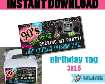90s Party THANK YoU TAG, Thank You, 90s Birthday Party, 90's Party Printable, 90s, Retro, Digital, Printable, Party, INsTANT DOWNLOAD