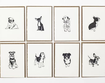 Dog card pack - Letterpress Thank you cards - Letterpress Cards - Dog note Card set - Small Note Cards - note cards - Puppies multipack
