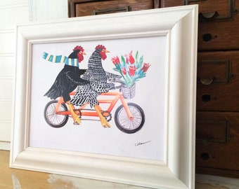 Chickens on a Bike Bertha and Ebenezer Art Print Beach Decor Key West Chickens Home Decor White Framed Print